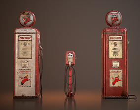 Old Gas And Air Pumps 3D model
