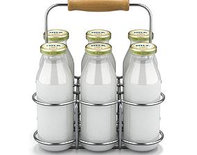 Milk Bottles in Wire Basket 3D
