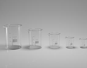 3D model Laboratory Beaker Set 50-1000ml