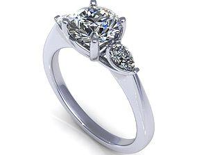 3D print model Three Stone Diamond Ring