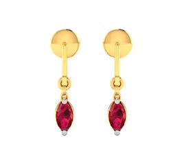 gold Women earrings 3dm render detail