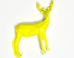 Low Poly Deer Abstract Broche Broche For 3D Printing Art