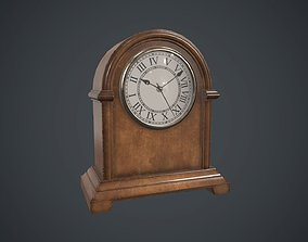 Wooden Retro Table Clock PBR Game Ready 3D asset
