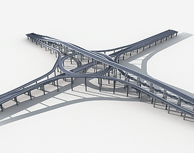 3D model Highway Road Viaduct Flyover 05