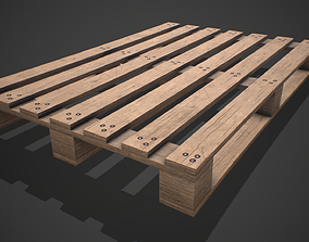 3D model Low poly European Wood pallet 01 PBR Game Ready