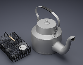 3D model Indian Teapot and Glass Holder