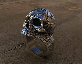 3D printable model Skull Ring Patterned and Cast in