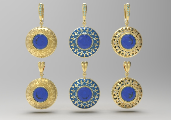 Earrings and pendant with oriental ornament