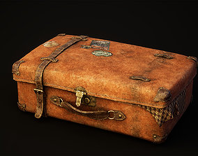 3D asset low-poly Vintage suitcase with stickers
