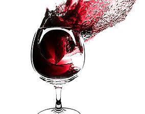 wine Splash Wineglass 4 3D