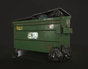 Dumpster with Garbage Bags 3D model