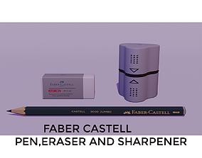 3D model Faber-Castell Pen Eraser and Sharpener set with