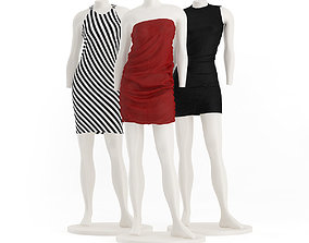 Store Mannequins with Dresses 3D