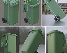 Rigged and Animated Garbage Can 120L High Poly 3D