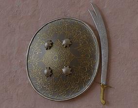 sword n shield arabic islamic realisric and 3D model