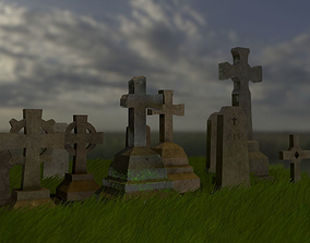 Gravestones collection 3D asset low-poly