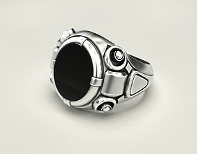 Ring with black onyx 3D print model