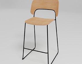 3D model AFI - Stackable sled base low stool with backrest