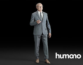 3D Humano Elegant Business Man in suit Standing and 1