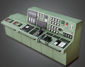 IND - Control Panel Desk - PBR Game Ready 3D asset