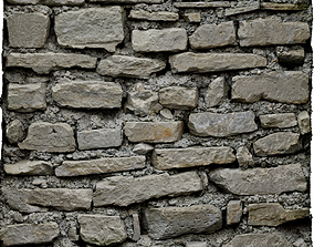 3D model Old Stone Wall RAW Scan and tiled PBR Material