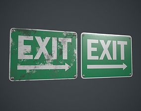 Plastic Exit Sign 2 PBR Game Ready 3D asset