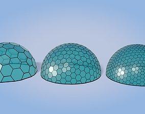 3D asset VR / AR ready Geodesic Domes