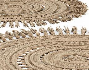 3D model Woven Round Tassel Rug handmade