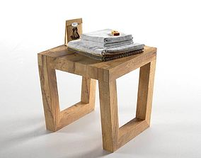 Composition Stool with Towels 3D