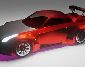 3D asset Nissan gtr low poly
