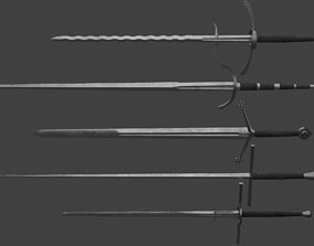 3D model Set of Five Two-Handed Swords