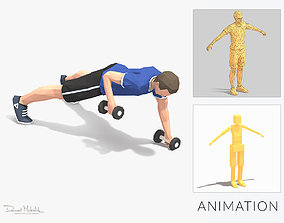 Plank Row Exercise Man Animation 3D asset