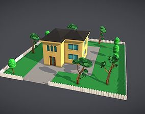 3D model LowPoly House with Yard and trees