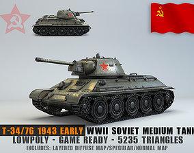 3D asset Low Poly T-34-76 1943 early medium tank