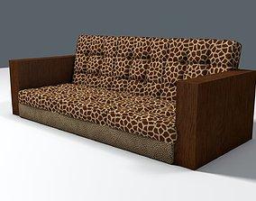 Giraffe and Leopard fur retro sofa 3D