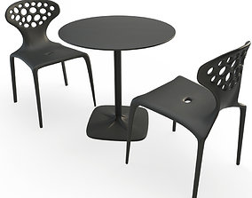 3D Supernatural Plastic grey table and chairs