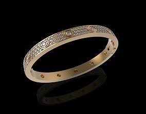 Bracelet Diamond Paved Yellow Gold 3D print model