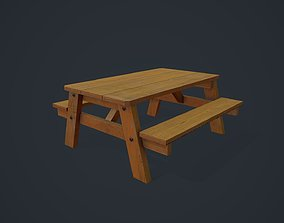 Wooden Table - Picnic Table 3D asset