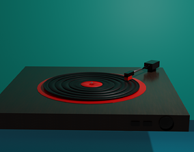 3D asset Low poly record player