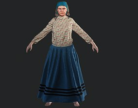3D model Old woman farmer rigged