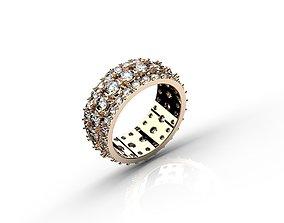 3D printable model Mens triple Rail Diamonds Ring in 3