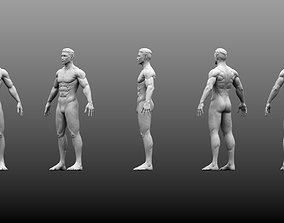 3D Male Base Mesh High and Low Poly