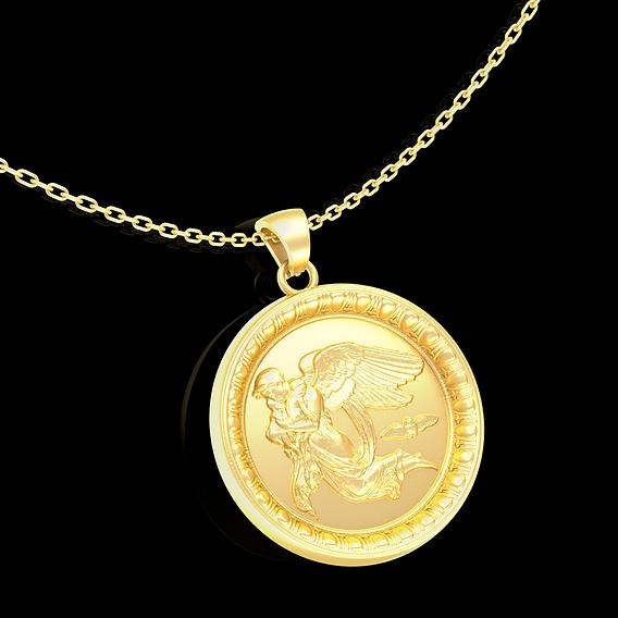 Guardian Angel of Children Pendant jewelry Gold 3D print model