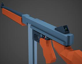 3D model Stylized Thompson M1A1 Low Poly Mobile Ready