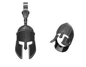 Lot of two models SPARTA Helmet Pendant and Ring