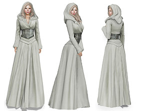 Stahma Hooded Gown With Hair 3D model