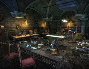 Mad scientist lab scene 3D model game-ready