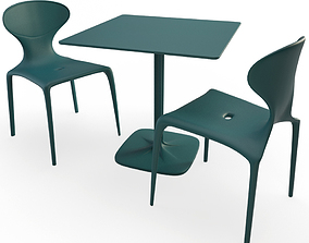 3D Supernatural Plastic green table and chairs