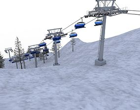 3D asset VR / AR ready ski lifts