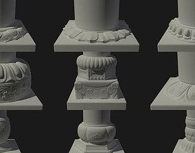 3D Ancient building column foundation